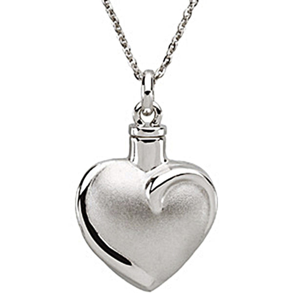 Inspirational Blessings Sterling Silver Fancy Heart Ash Holder Necklace