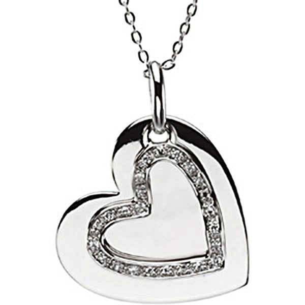 Inspirational Blessings Sterling Silver Mother and Daughter Heart CZ Necklace