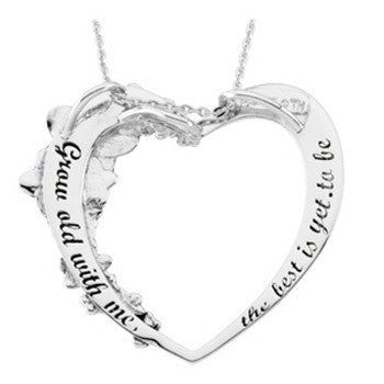 Inspirational Blessings Sterling Silver Grow Old With Me Heart Necklace