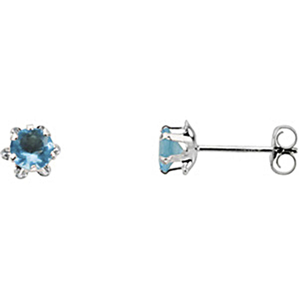 14K White Gold Teen March Birthstone Stud Earrings