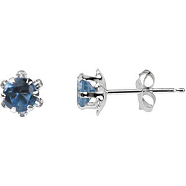 14K White Gold Teen December Birthstone Stud Earrings
