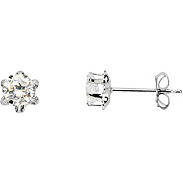 14K White Gold Teen April Birthstone Stud Earrings