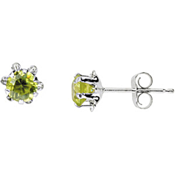 14K White Gold Teen August Birthstone Stud Earrings