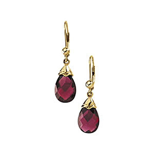 14K Yellow Gold Genuine Brazilian Garnet Briolette Earrings