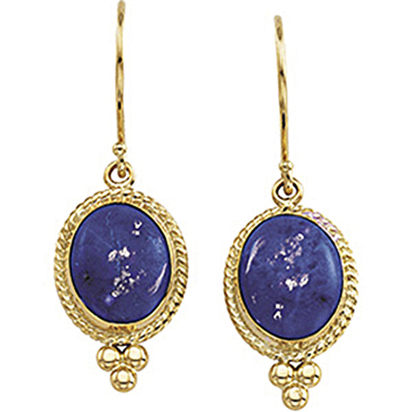 14K Yellow Gold Genuine Lapis Cabochon Earrings