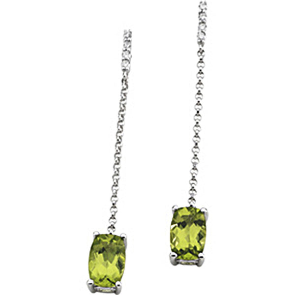 14K White Gold Genuine Peridot Diamond Dangle Earrings