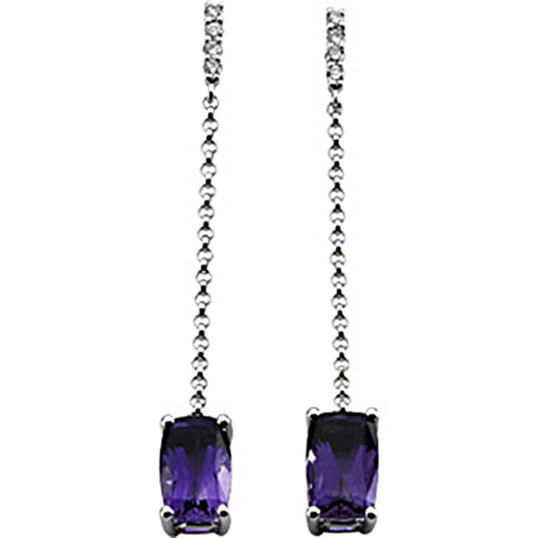 14kt White Gold Genuine Amethyst Diamond Dangle Earrings