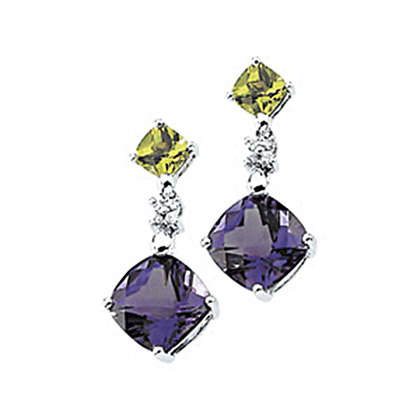14K White Gold Genuine Multicolor Gemstone and Diamond Earrings