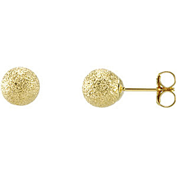 14K Yellow Gold Stardust Ball Post Earrings 4mm to 8mm