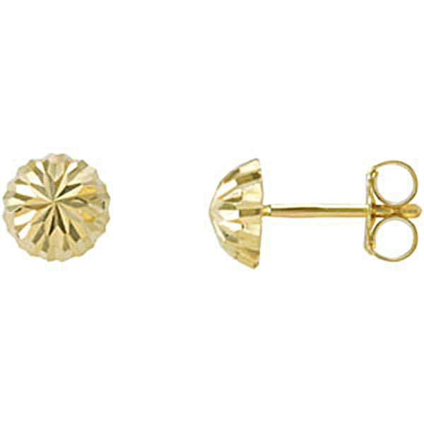 14K Yellow Gold Half Ball Post Earrings 4mm to 10mm