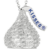 Sterling Silver 20mm 1/4 ct tw Diamond 3D Hershey's Kisses Necklace