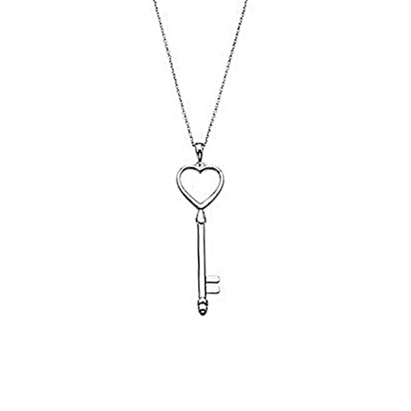 Sterling Silver Heart Shaped Key Pendant