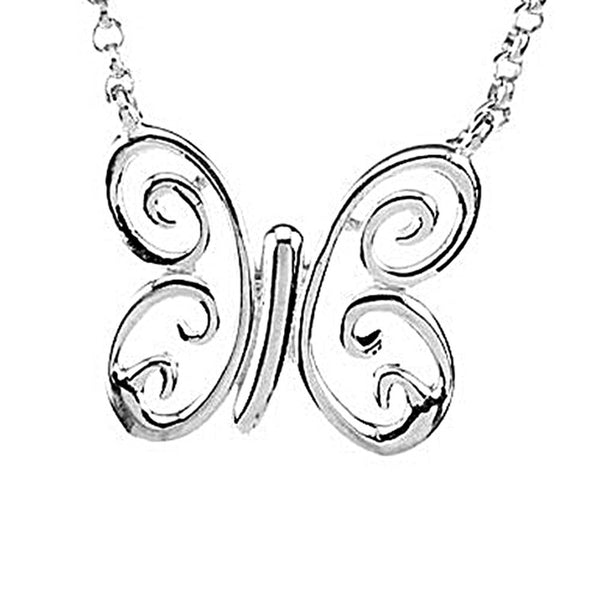 Sterling Silver Swirling Butterfly Necklace