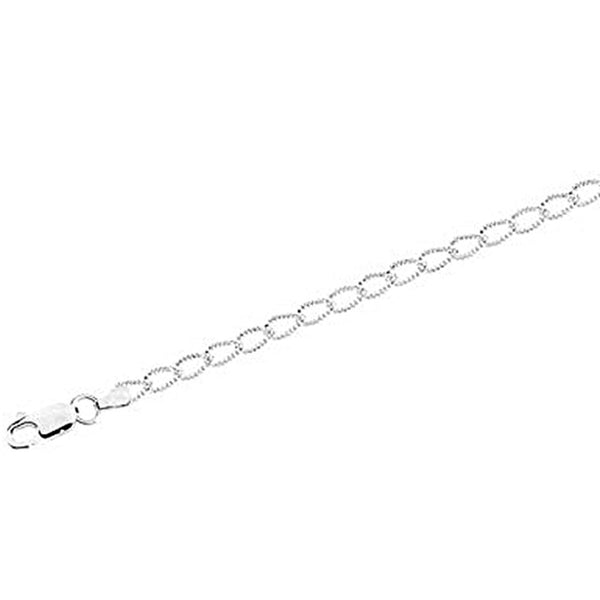 Sterling Silver Textured Curb Chain Anklet