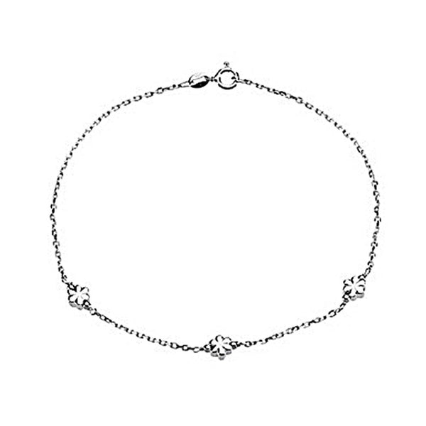 Sterling Silver Repeating Floret Ankle Bracelet