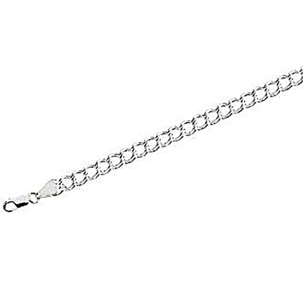 Sterling Silver Curb Chain Charm Bracelet