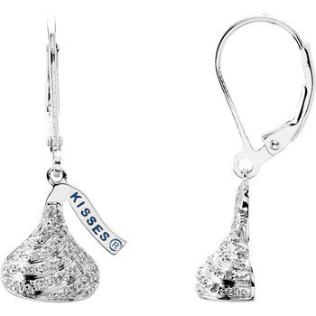 Sterling Silver 1/6 ct tw Diamond Hershey?s Kisses Dangle  Earrings