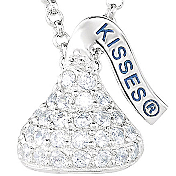 Sterling April Birthstone CZ Encrusted Hershey's Kiss Necklace