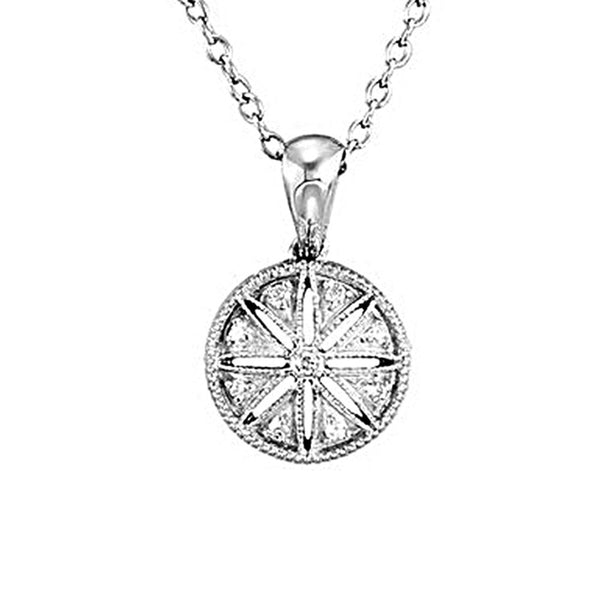 Sterling Silver 0.05 ct tw Diamond Round North Star Pendant Necklace