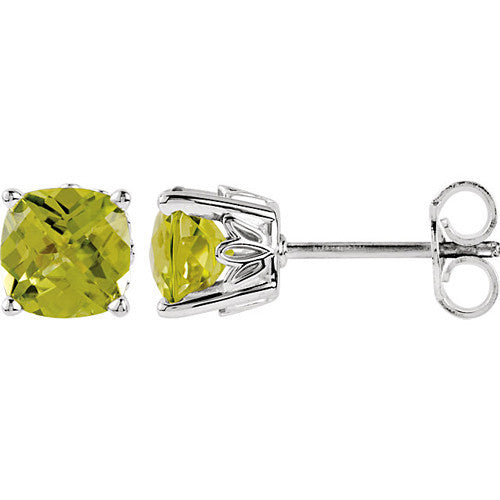 Sterling Silver Square Genuine Peridot Stud Earrings-5mm to 8mm