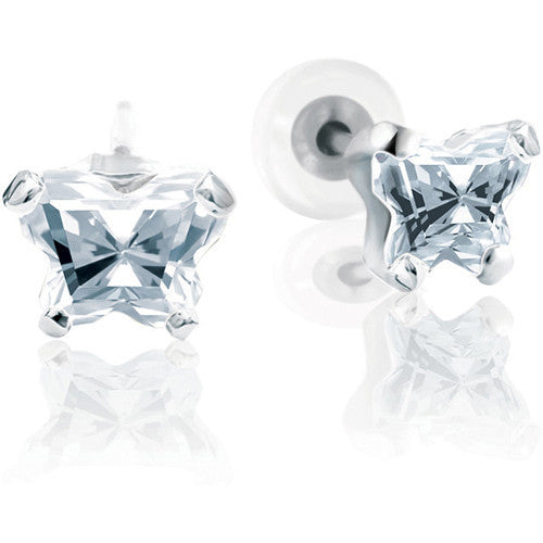 Sterling Silver April CZ Birthstone Youth Earrings by Bfly