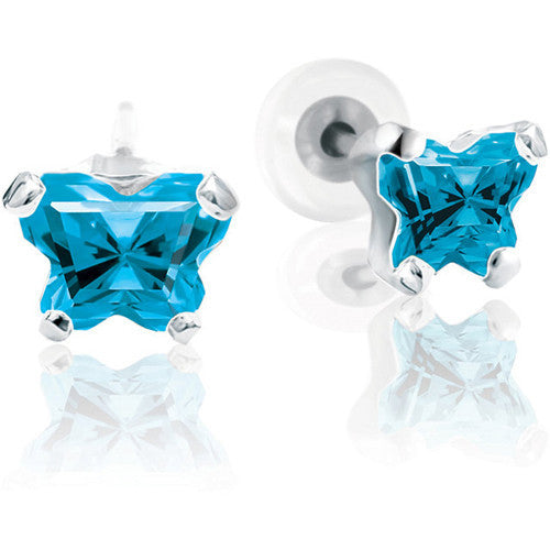 Sterling Silver December CZ Birthstone Youth Earrings by Bfly