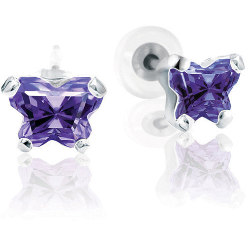 Sterling Silver February CZ Birthstone Youth Earrings by Bfly