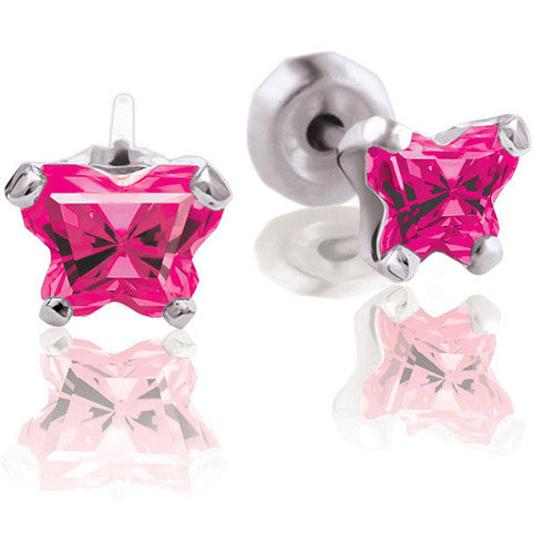 Sterling Silver July CZ Birthstone Youth Earrings by Bfly
