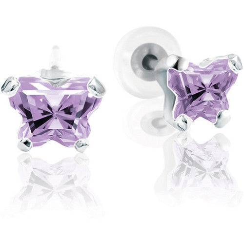 Sterling Silver June CZ Birthstone Youth Earrings by Bfly