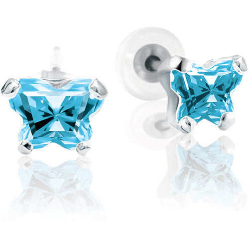 Sterling Silver March CZ Birthstone Youth Earrings by Bfly