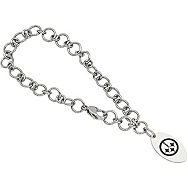 Stainless Steel Pittsburgh Steelers Logo Dangle Bracelet