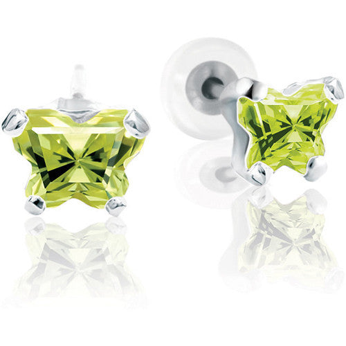 10K White Gold August CZ Birthstone Youth Earrings by Bfly