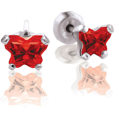 10K White Gold January CZ Birthstone Youth Earrings by Bfly