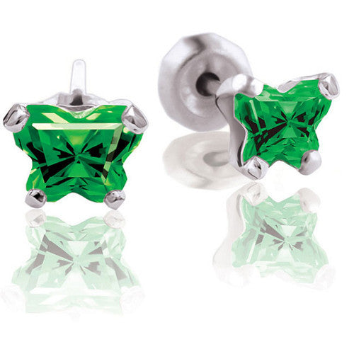 10K White Gold May CZ Birthstone Youth Earrings by Bfly