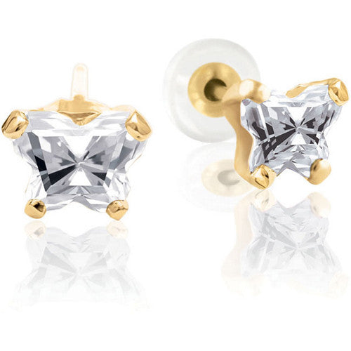 10K Yellow Gold April CZ Birthstone Youth Earrings by Bfly