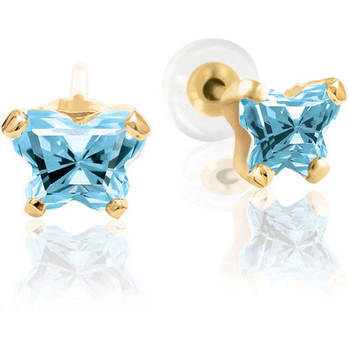 10K Yellow Gold March CZ Birthstone Youth Earrings by Bfly