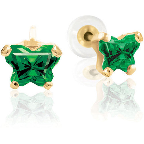 10K Yellow Gold May CZ Birthstone Youth Earrings by Bfly