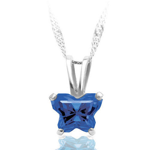 10K White Gold September CZ Birthstone Youth Necklace by Bfly