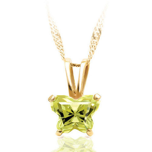 10K Yellow Gold August Birthstone Youth Necklace by Bfly