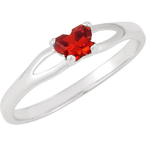 Sterling Silver January CZ Birthstone Youth Ring by Bfly