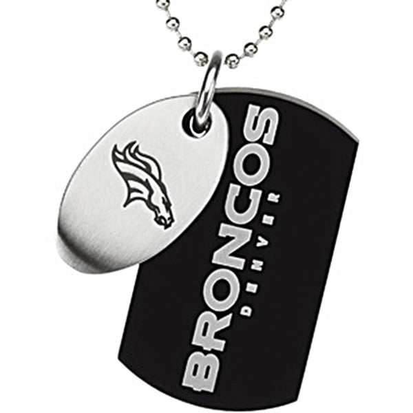 Stainless Steel Denver Broncos Logo Double Dog Tag Necklace