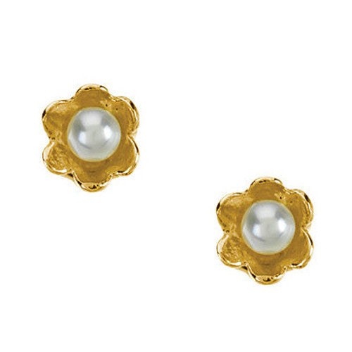 14kt Yellow Gold Screwback Youth Pearl Flower Stud Earrings