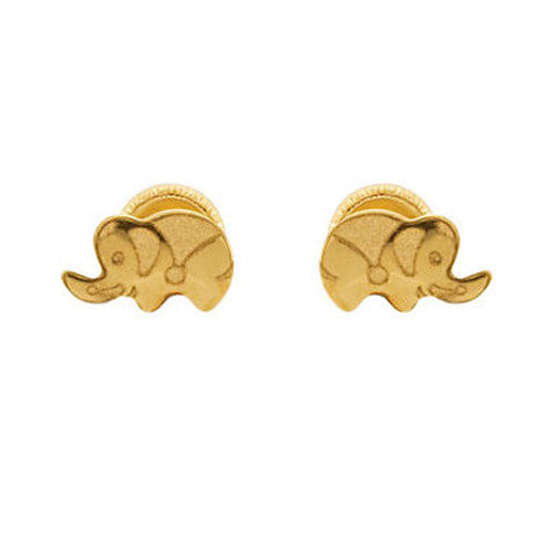 14K Yellow Gold Elephant Youth Stud Earrings