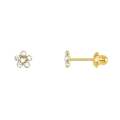 14kt Yellow Gold Clear CZ Flower Youth Stud Earrings