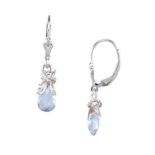 Sterling Silver Blue Gem Drop Youth Earrings