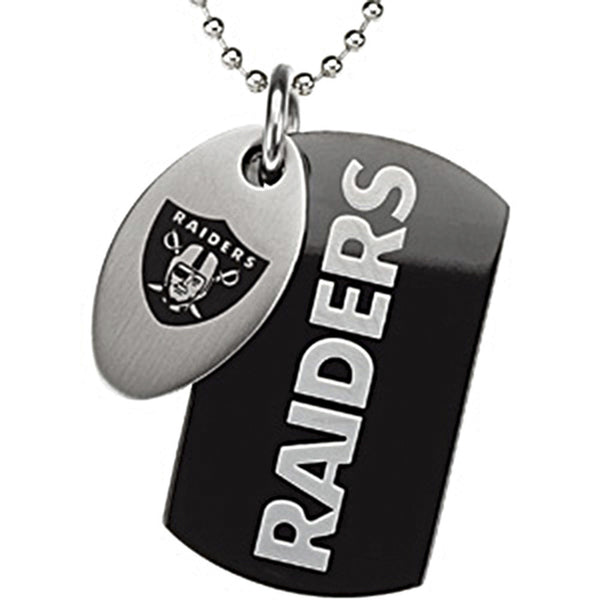 Stainless Steel Oakland Raiders Logo Double Dog Tag Necklace