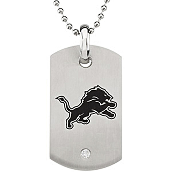 Stainless Steel Detroit Lions Logo Dog Tag Necklace