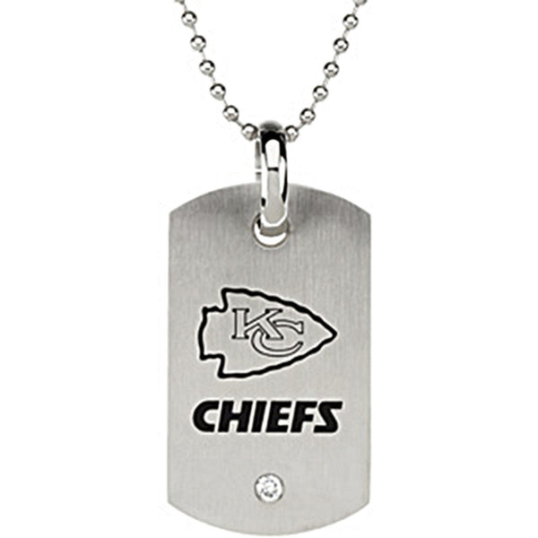 Stainless Steel Kansas City Chiefs Logo Dog Tag Necklace