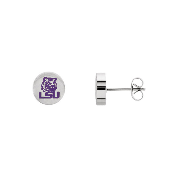 Stainless Steel Louisiana State University Tigers Stud Earrings