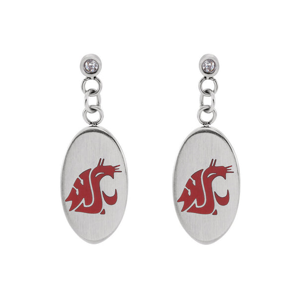 Stainless Steel Washington State University Cougar Dangle Earrings